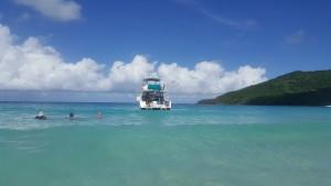 The SS Tobais anchored at Flamenco Beach, Dean Bill and George